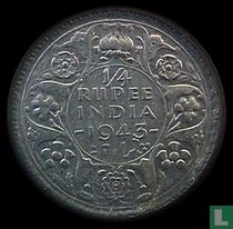 Brits-Indië ¼ rupee 1943 (reeded)