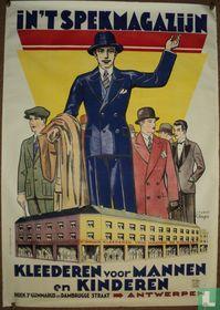 In`t spekmagazijn Kleederen voor Mannen en Kinderen. Antwerpen,1931 Litho