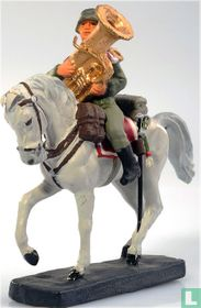 German musician on horseback