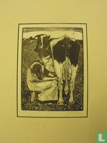 Farmer's lady milking the cow
