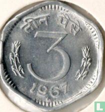India 3 paise 1967 (Hyderabad, type 1)