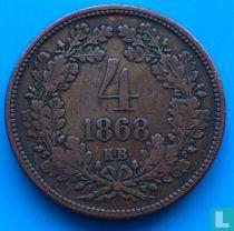 Hongarije 4 krajczar 1868