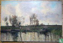 Landschap met bootje op het water