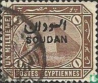 Sfinx en piramide van Gizeh,met opdruk