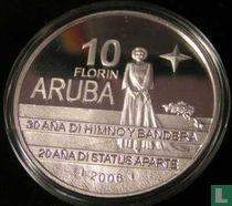 "Aruba10 florin 2006 (PROOF) ""30th anniversary Flag and anthem and 20th anniversary Status Aparte"""