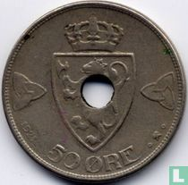Norwegen 50 Øre 1921 (mit Loch)