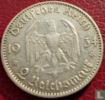 """Duitse Rijk 2 reichsmark 1934 (J) """"1ste verjaardag van de opening van de Reichstag"""""""