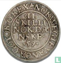 Denemarken 2 skilling 1559
