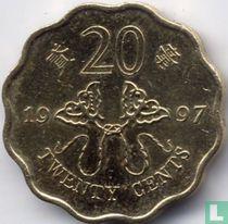 """Hongkong 20 cents 1997 """"Retrocession to China"""""""