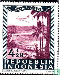 Vliegtuig boven strand en palmen