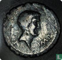 Romeinse Rijk, AR Denarius, 42 BC, Marcus Antonius, mobile mint