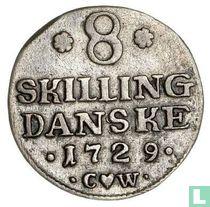 Denemarken 8 skilling 1729
