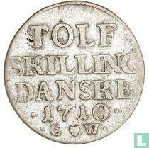Denemarken 12 skilling 1710