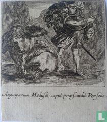 Anguiparum Meduse caput praescundit Perseus (Perseus doodt Medusa); 53 x 63mm