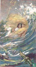 De Kleine Zeemeermin redt den Prins.