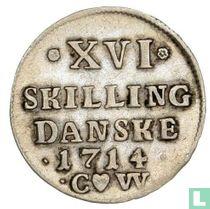 Denemarken 16 skilling 1714
