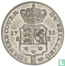 Denemarken 24 skilling 1731 (met hart)