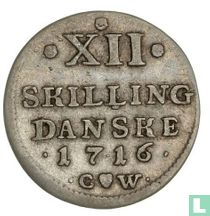 Denemarken 12 skilling 1716