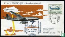 1e vlucht Boeing-jet Brussel-Montréal