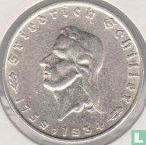 """Duitse Rijk 2 reichsmark 1934 """"Friedrich von Schiller 1759-1934"""""""