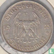 """Duitse Rijk 5 reichsmark 1935 (D) """"1st Anniversary of Nazi Rule - Potsdam Garrison Church"""""""