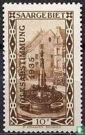 Brunnen Sie St. John's Markt in Saarbrücken mit Prägung VOLKSABSTIMMUNG 1935