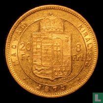 Hongarije 8 forint / 20 francs 1874