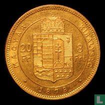 Hongarije 8 forint / 20 francs 1878