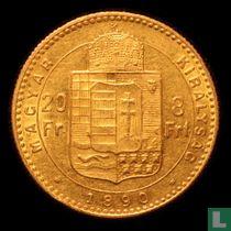 Hongarije 8 forint / 20 franks 1890