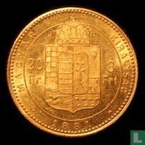 Hongarije 8 forint / 20 francs 1881