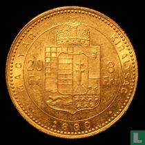 Hongarije 8 forint / 20 francs 1880