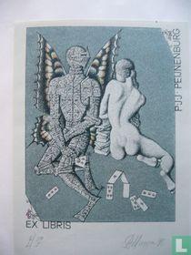 exlibris Ridder/Naakt/Kaartspel