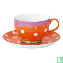 Cappuccino kop & schotel oranje
