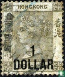 Koningin Victoria met opdruk