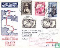 1st scheduled flight Belgium - Congo