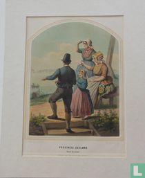 'Twee vrouwen, een man en een meisje op het eiland Noord-Beveland te Zeeland