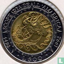 "San Marino 500 lire 1992 ""500th anniversary Discovery of America"""