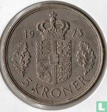 Denemarken 5 kroner 1973 (brede rand)