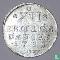 Denemarken 12 skilling 1718