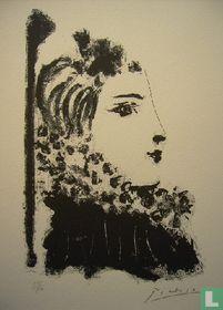 Profiel van een vrouw met halskraag