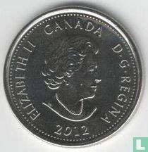 "Canada 25 cents 2012 (coloured) ""Bicentenary War of 1812 - Tecumseh"""