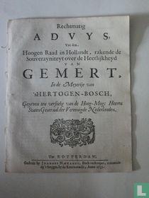 Rechtmatig Advys, Van den  Hoogen Raadt in Hollandt, rakende de Souverayniteyt over de Heerlijkheyd van Gemert..
