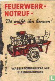 Feuerwehrnotruf - Wasserfördergerät mit Kleingasturbine