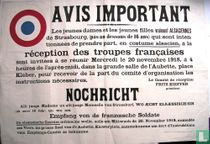 Uitnodiging: Réception de la troupes Francaises. 20 november 1918.