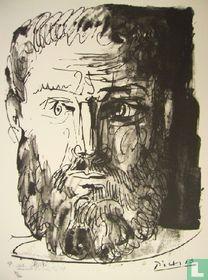 Homme barbu, de face, trait et lavis