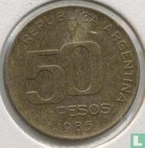 """Argentina 50 pesos 1985 """"50th anniversary of Central Bank"""""""
