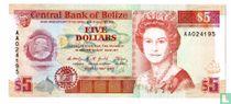 Belize 5 dollar 1990