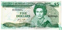 Oost. Caraïben 5 Dollars Saint Lucia