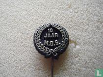10 jaar M.G.S. (laurel wreath) [gold on black]