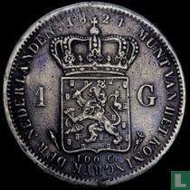 Netherlands 1 guilder 1824 (without a line between crown and coat of arms)